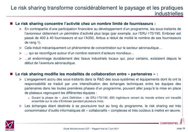 Le risk sharing transforme considérablement le paysage et les pratiques industrielles