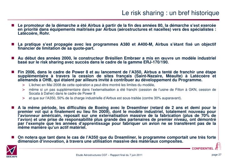 Le risk sharing : un bref historique