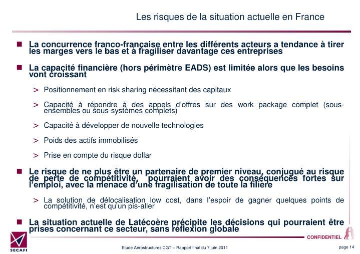 Les risques de la situation actuelle en France