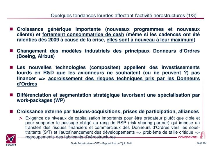 Quelques tendances lourdes affectant lactivit arostructures (1/3)