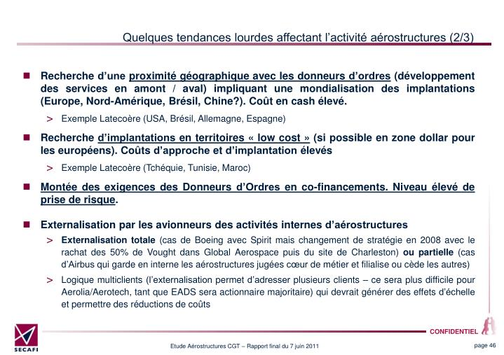 Quelques tendances lourdes affectant lactivit arostructures (2/3)