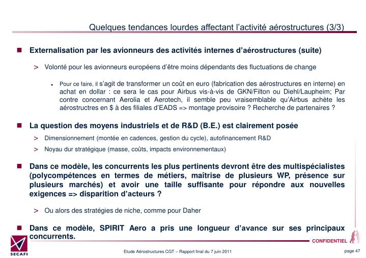 Quelques tendances lourdes affectant lactivit arostructures (3/3)