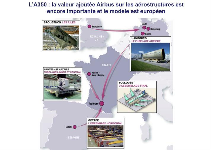 L'A350 : la valeur ajoutée Airbus sur les aérostructures est encore importante et le modèle est européen