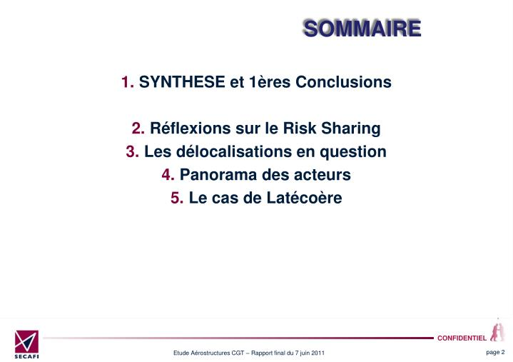 SYNTHESE et 1res Conclusions