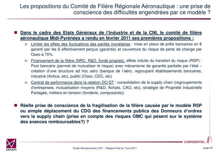 Les propositions du Comité de Filière Régionale Aéronautique : une prise de conscience des difficultés engendrées par ce modèle ?