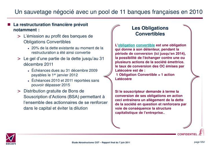 Un sauvetage négocié avec un pool de 11 banques françaises en 2010