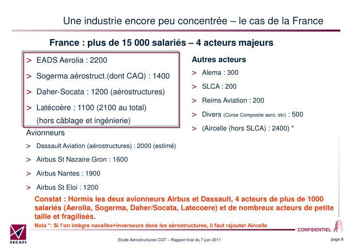 Une industrie encore peu concentrée – le cas de la France