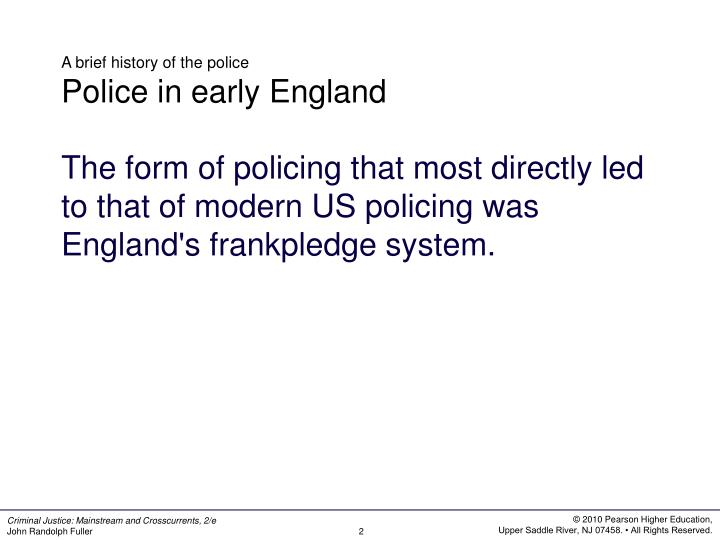 A brief history of the police police in early england
