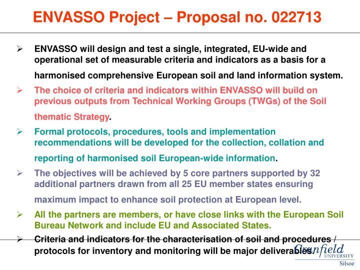 ENVASSO Project – Proposal no. 022713
