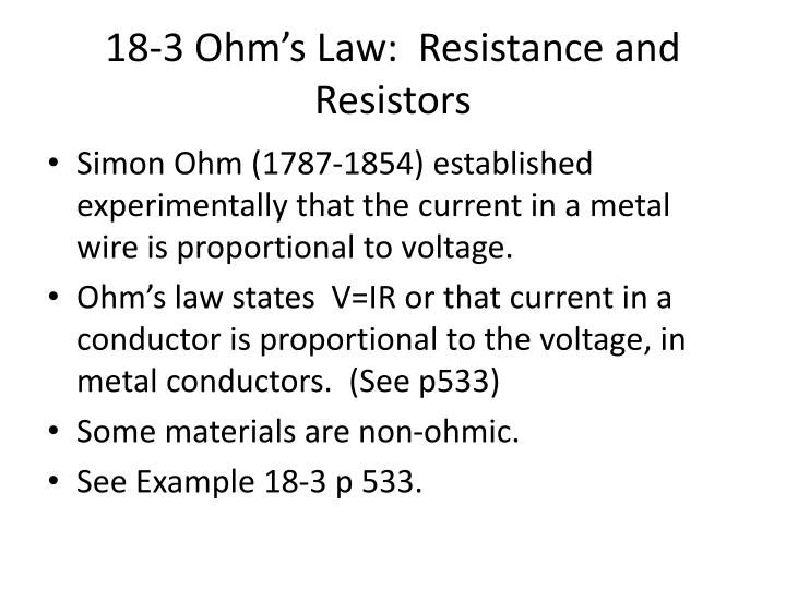18 3 ohm s law resistance and resistors