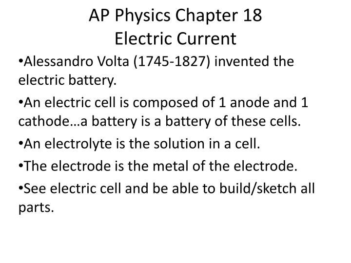 Ap physics chapter 18 electric current