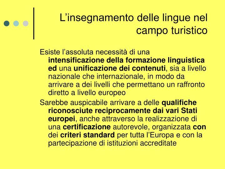 L'insegnamento delle lingue nel campo turistico