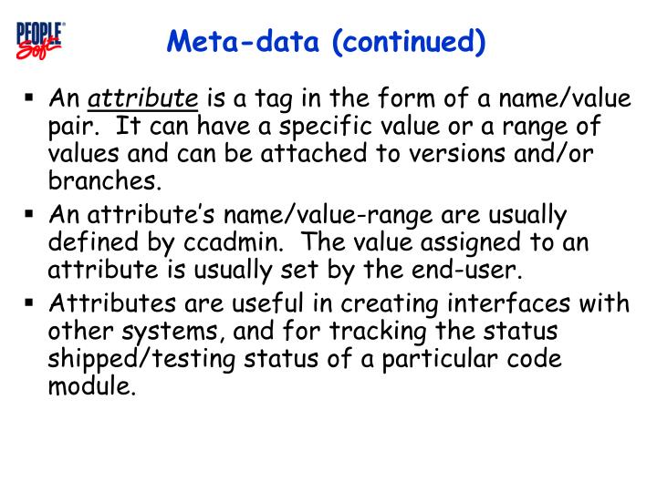 Meta-data (continued)