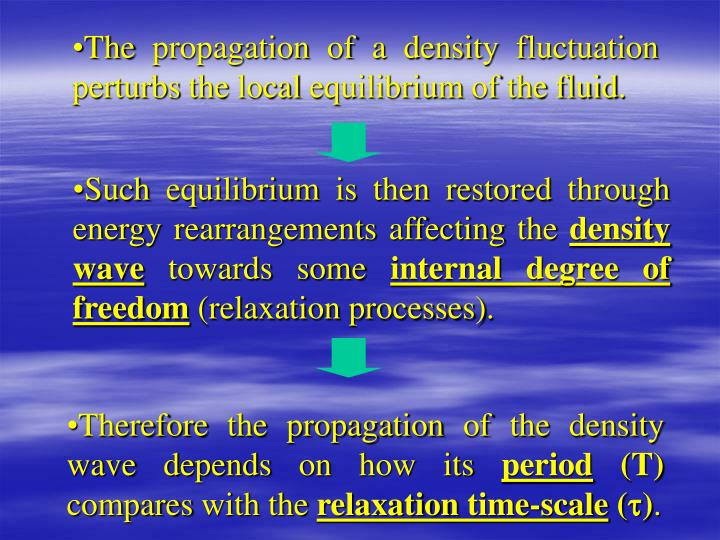 The propagation of a density fluctuation perturbs the local equilibrium of the fluid.
