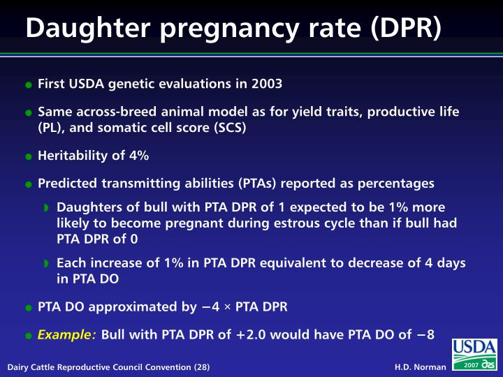 Daughter pregnancy rate (DPR)