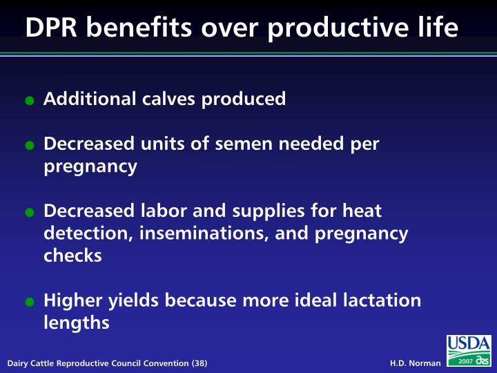DPR benefits over productive life
