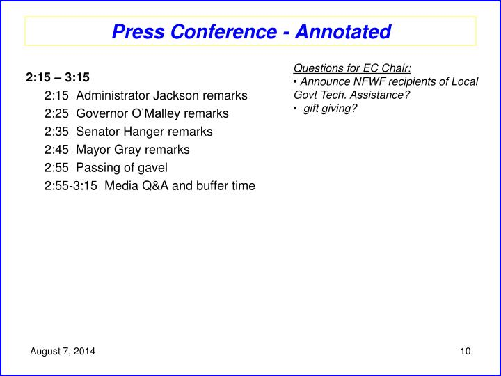 Press Conference - Annotated