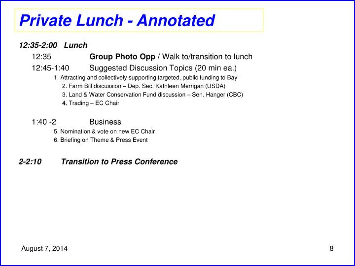 Private Lunch - Annotated