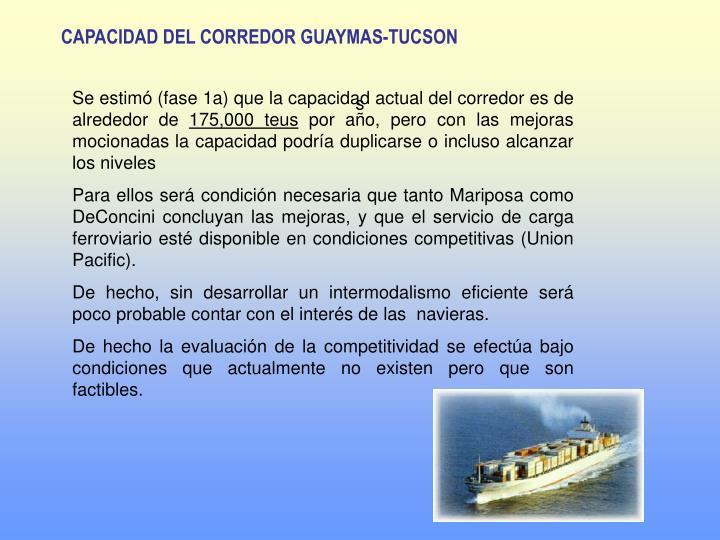 CAPACIDAD DEL CORREDOR GUAYMAS-TUCSON