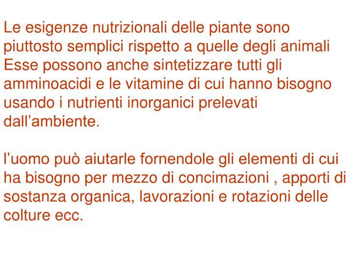 Le esigenze nutrizionali delle piante sono piuttosto semplici rispetto a quelle degli animali