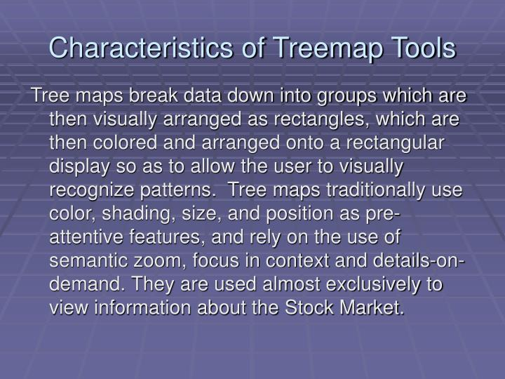 Characteristics of Treemap Tools