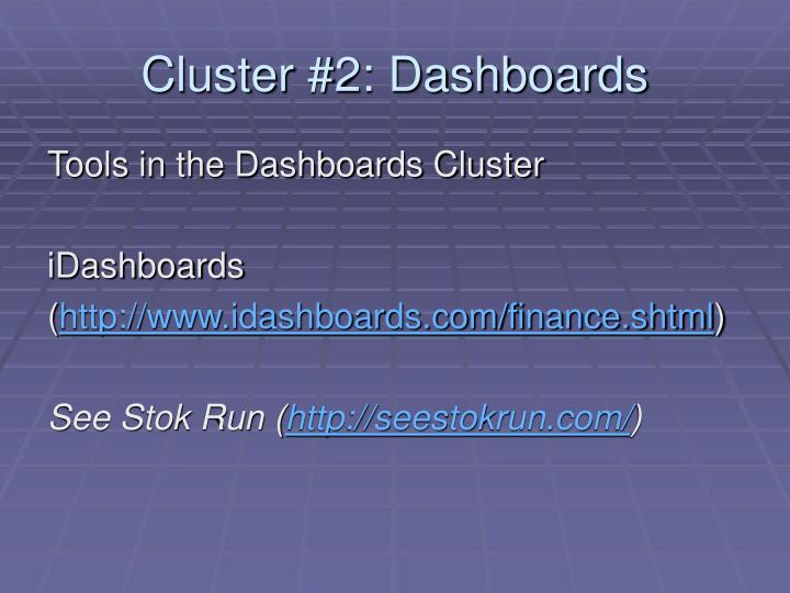 Cluster #2: Dashboards