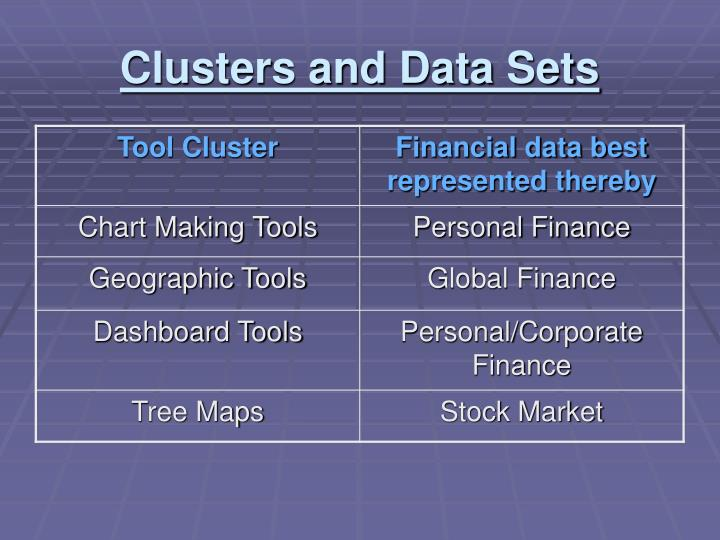 Clusters and Data Sets