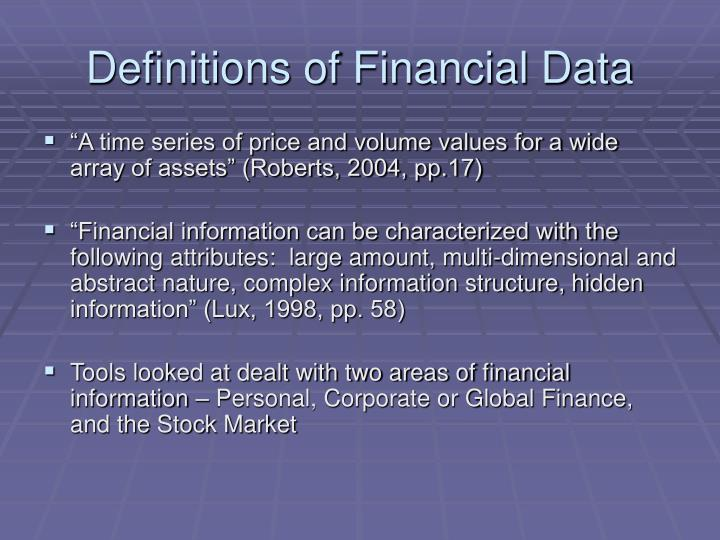 Definitions of Financial Data