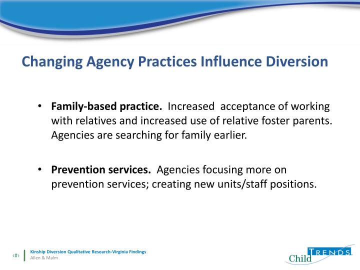 Changing Agency Practices Influence Diversion
