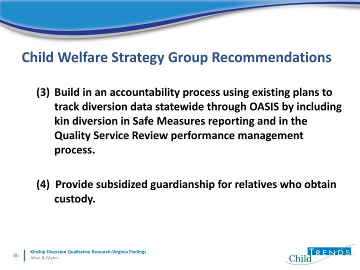 Child Welfare Strategy Group Recommendations