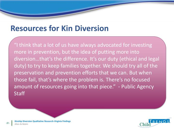 Resources for Kin Diversion
