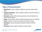 type of assessments