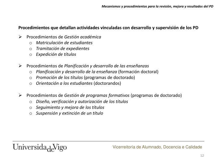 Mecanismos y procedimientos para la revisión, mejora y resultados