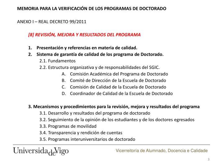 MEMORIA PARA LA VERIFICACIÓN DE LOS PROGRAMAS DE DOCTORADO