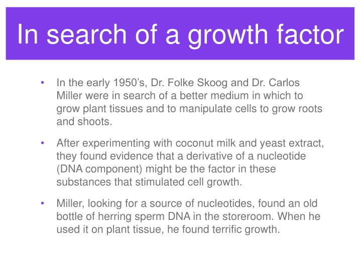 In search of a growth factor