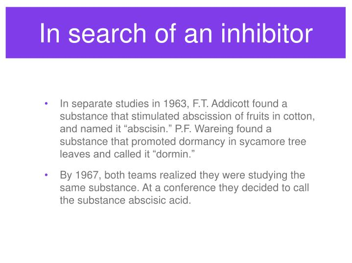 In search of an inhibitor