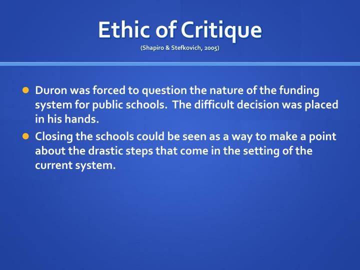 Duron was forced to question the nature of the funding system for public schools.  The difficult decision was placed in his hands.