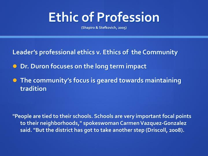 Ethic of Profession