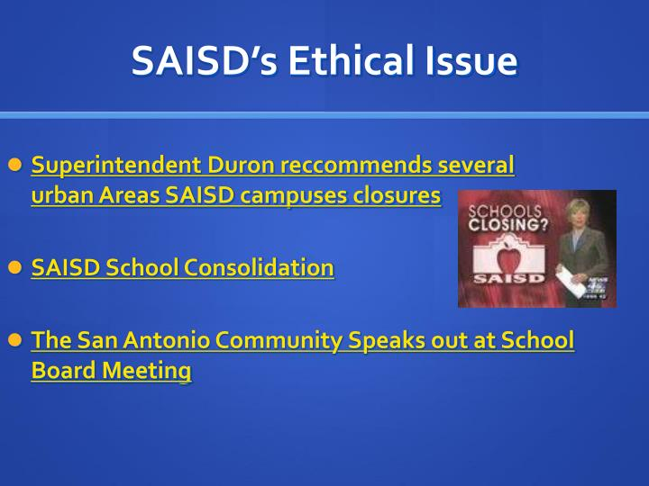 Saisd s ethical issue