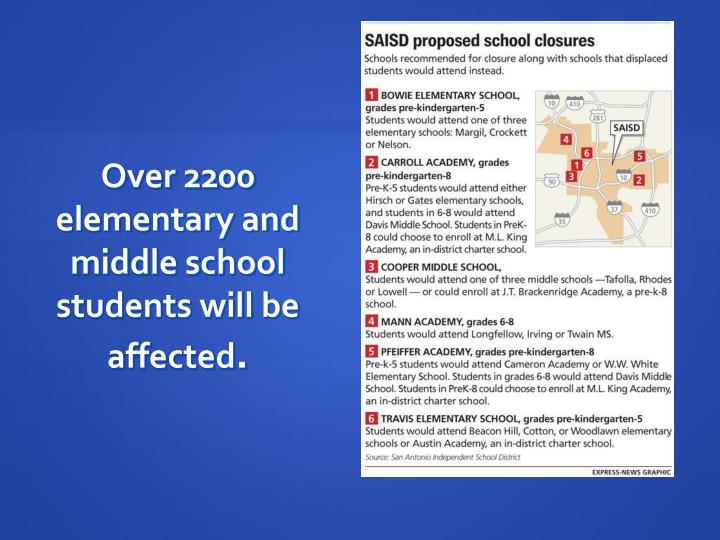 Over 2200 elementary and middle school students will be affected