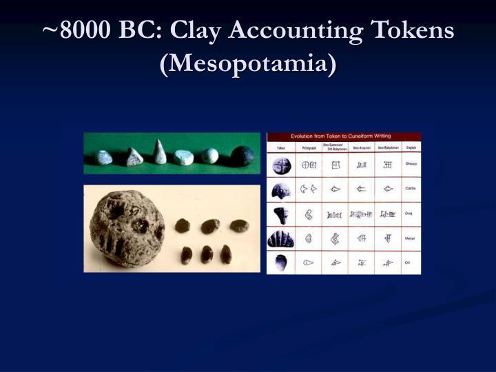 ~8000 BC: Clay Accounting Tokens