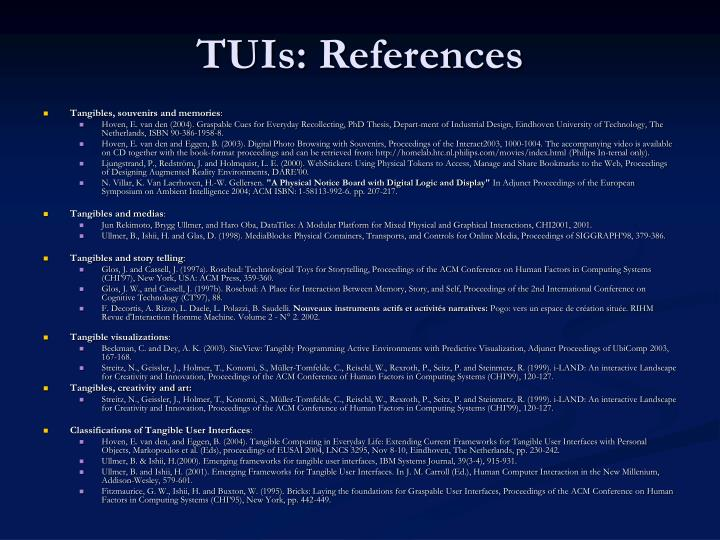 TUIs: References