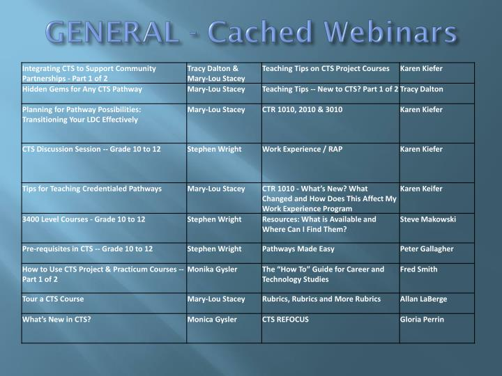 GENERAL - Cached Webinars