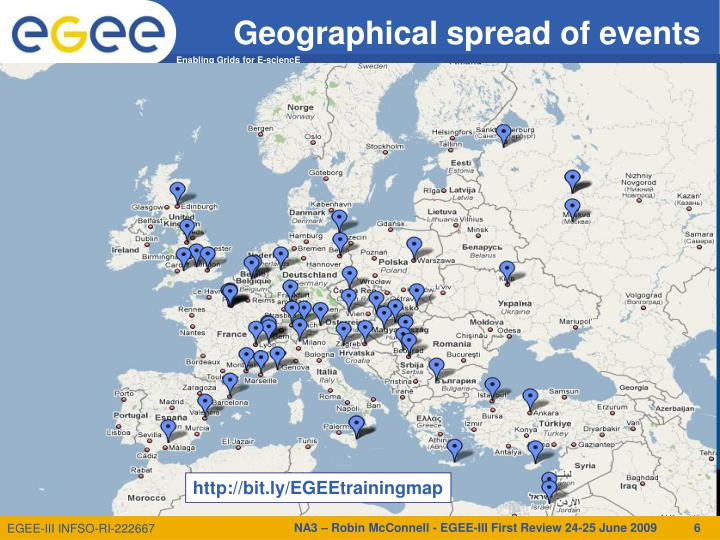 Geographical spread of events