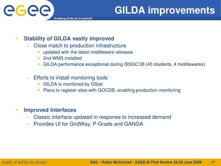 GILDA improvements