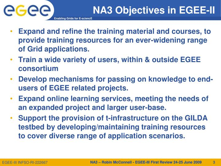 Na3 objectives in egee ii