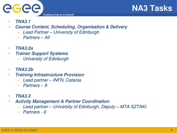 NA3 Tasks