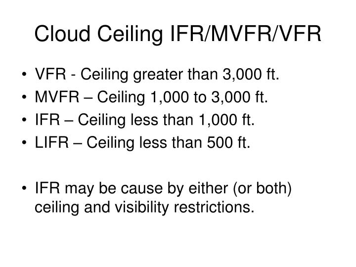 Cloud Ceiling IFR/MVFR/VFR