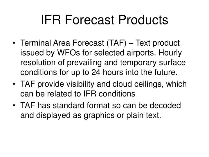 IFR Forecast Products