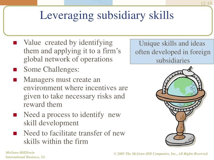 Leveraging subsidiary skills